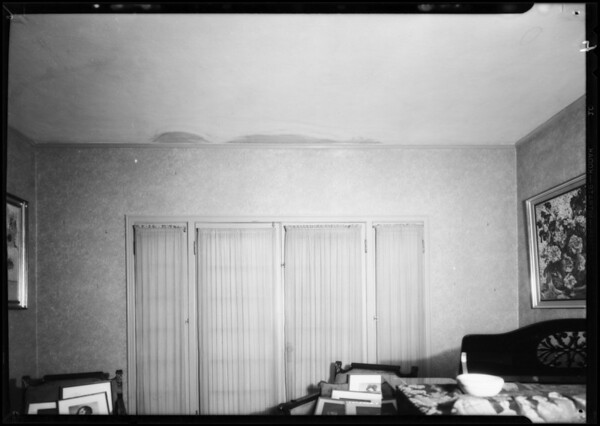 Stains in ceiling and walls of home, Southern California, 1932