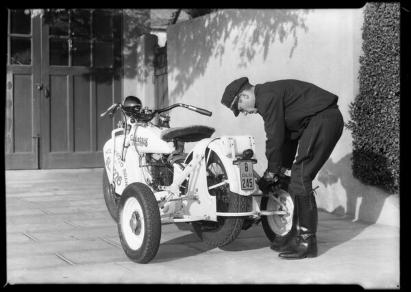 Cycletow in front of residences, Southern California, 1932