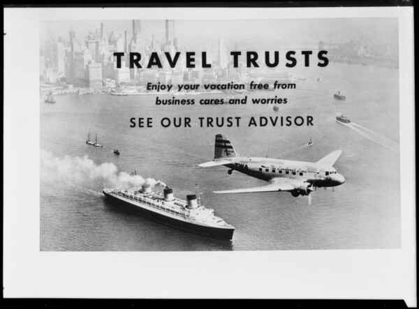 """Travel Trusts"" card, Security First National Bank, Southern California, 1939"
