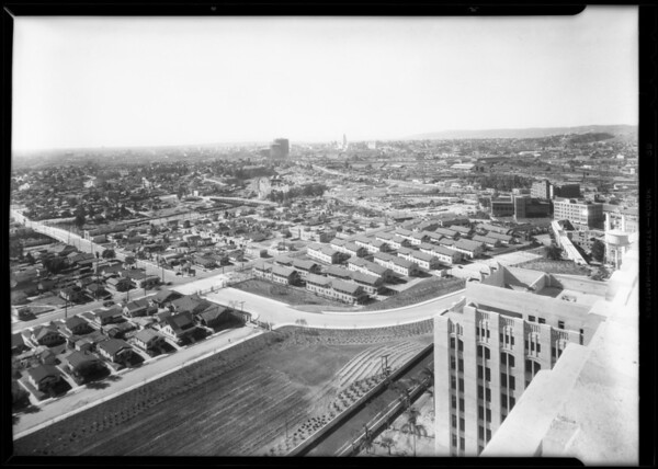 Birds eye view from top of Los Angeles County Hospital, Los Angeles, CA, 1932
