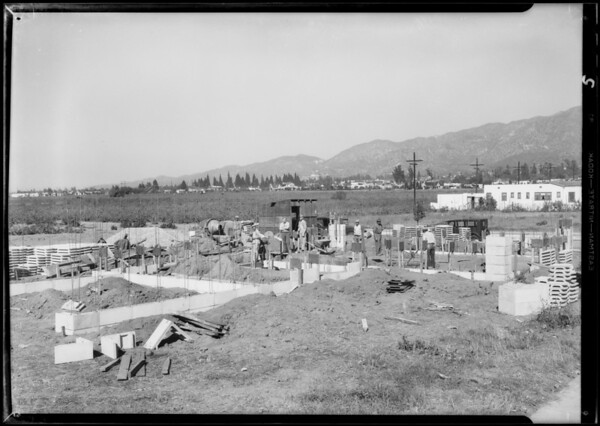 Foundations of house, Highland Avenue and Palm Drive, Glendale, CA, 1933