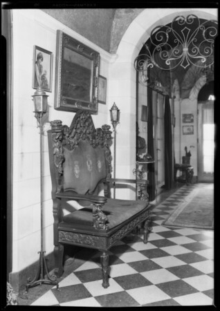 Settee in Eugene Brewster's home, Southern California, 1927