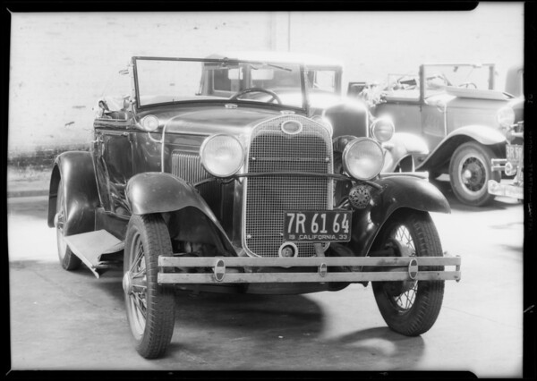 Damage to Ford roadster, Southern California, 1933