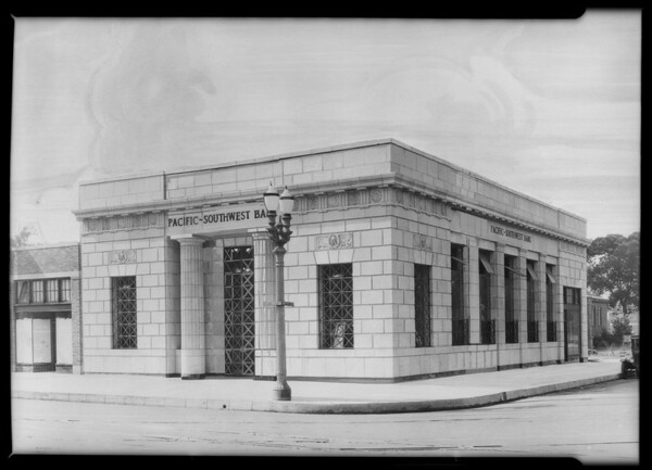 Pacific Southwest Bank, intersection of University Avenue and West Jefferson Boulevard, Los Angeles, CA, 1925