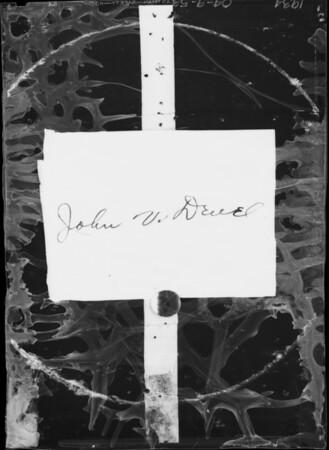 Author, John Vanderveer Deuel, Southern California, 1934