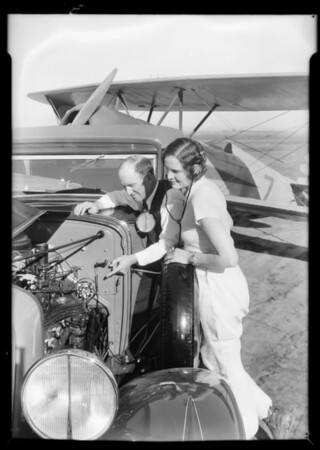 Gladys O'Donnell and Earl Cooper at Long Beach Airport, Long Beach, CA, 1932