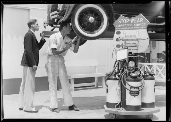 """""""Stop Wear"""" publicity, Union Oil Co., Southern California, 1933"""