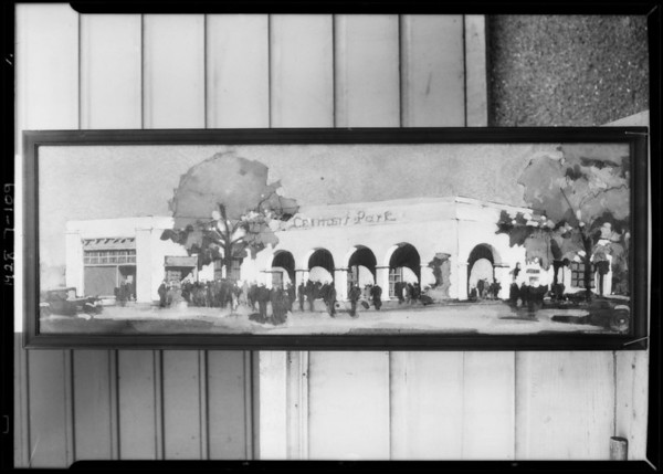 Copy of wash drawing of Leimert Park office, Los Angeles, CA, 1928