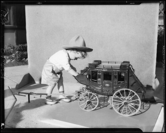 Stagecoach, miniature, Ms. Knight's youngster, Southern California, 1934