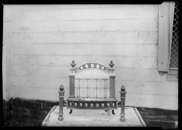 Radiant gas heater, Southern California, 1928