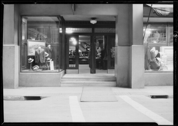 Steps in Bullock's court, women fell, Southern California, 1932