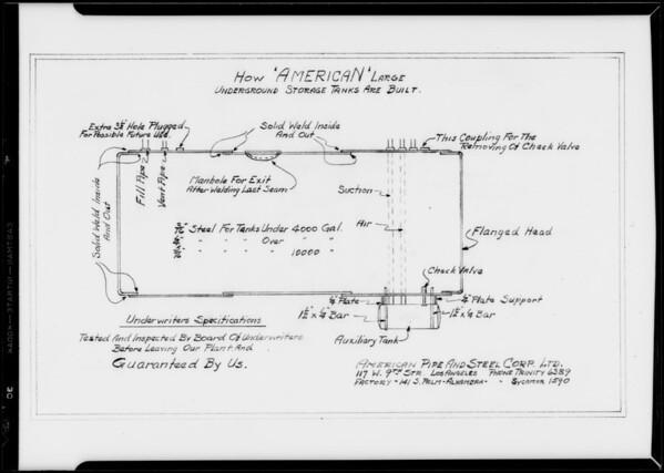 Underground storage tank plan, Southern California, 1932