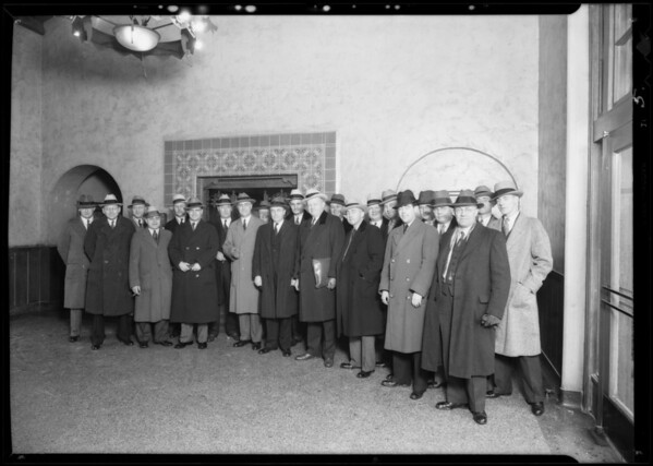 Executives arrive, Union Pacific Station, Los Angeles, CA, 1932