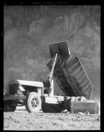 White trucks at Boulder Dam [Hoover Dam], NV, 1932