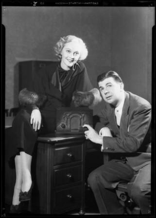 Murray & Jeny with small radio, Southern California, 1933