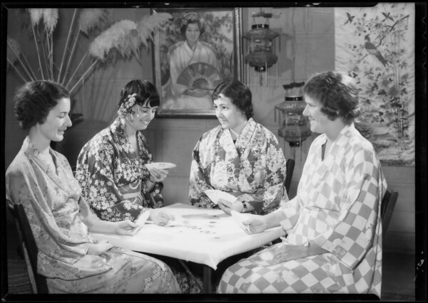 Ladies of Friday Mommy Club, Japanese playing cards, Southern California, 1934