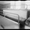 Linoleum on seats in operating room, Southern California, 1933