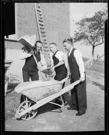 Construction activity, new patio, Southern California, 1934
