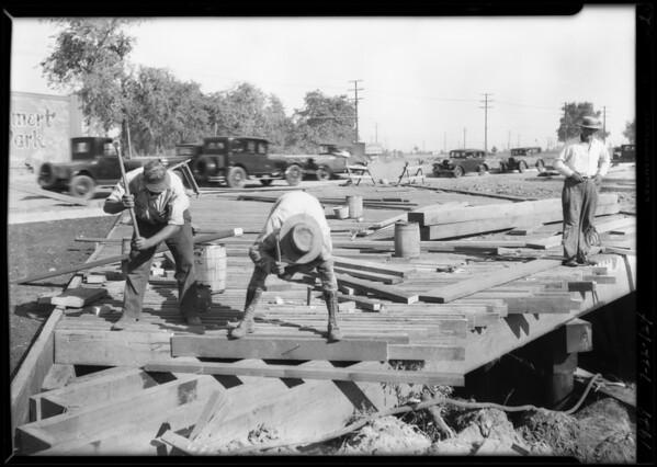 Road construction of bridge on Mesa Drive, Southern California, 1929