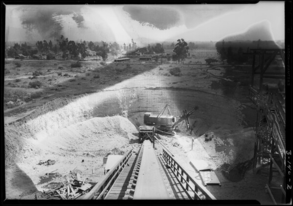 Rock crusher and pit, Southern California, 1928