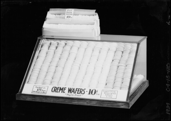 Case of creme wafers, Southern California, 1934
