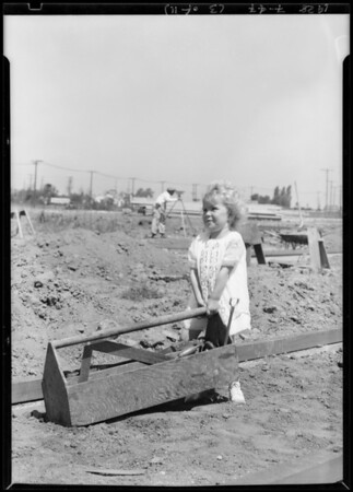 Ground breaking for market at Vernon Avenue and Angeles Mesa Drive, Leimert Park, Los Angeles, California, 1928