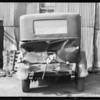 Truck trailer and car, Captain John Richardson, assured, Southern California, 1933