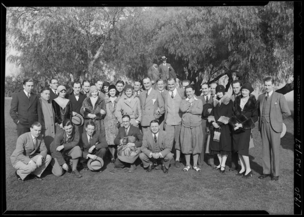 """Group of players from """"Journey's End"""" at Holly H. Breakfast Club, Southern California, 1930"""