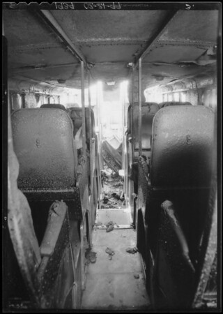 Night coach destroyed by fire, Los Angeles, CA, 1934