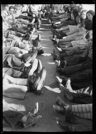 Shoes given to school children, Harbor City, Los Angeles, CA, 1933