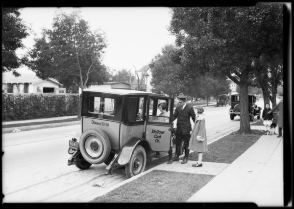 Driver training on Western Avenue, Yellow Cab, Southern California, 1926
