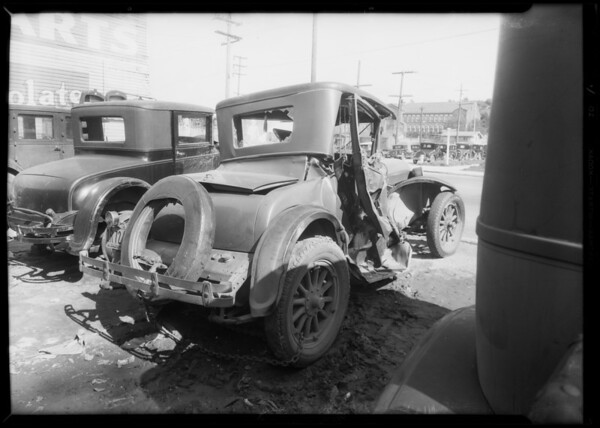 Wrecked Dodge coupe, Mr. Larson owner, Southern Calfornia, 1932