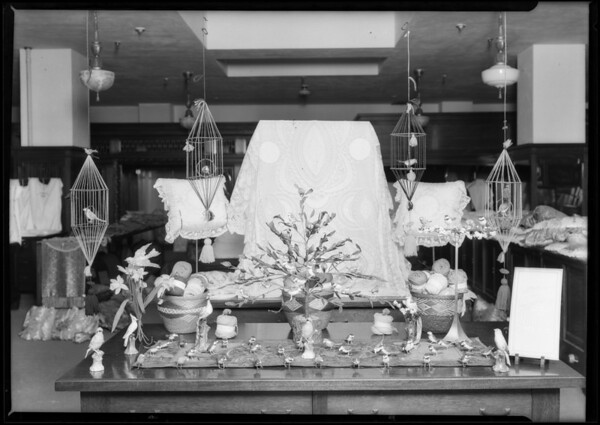 Bird cage made of yarn, Broadway Department Store, Los Angeles, CA, 1925