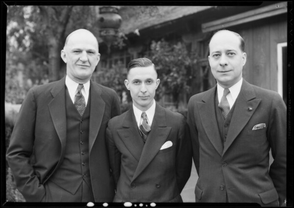 Three executives at L. A. Breakfast Club, Southern California, 1932