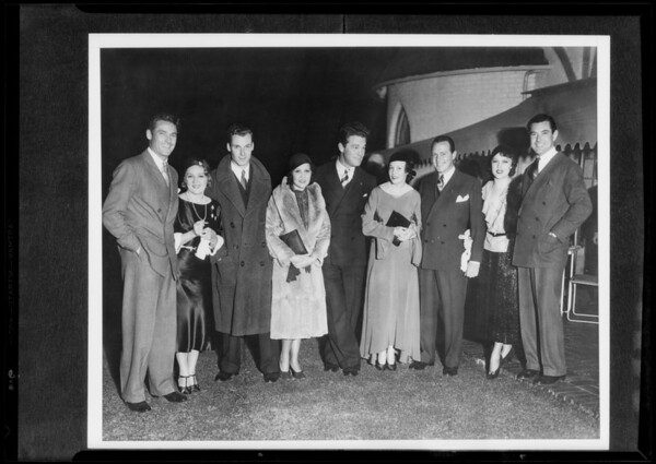 Groups of movie folk, Southern California, 1932