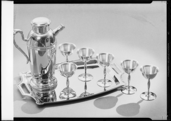 Mixer & goblets on tray in silver, Southern California, 1933