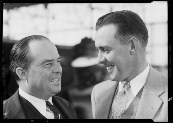 Mr. Thomas and Mr. Nicholls, Pacific Airmotive Corporation, Southern California, 1933