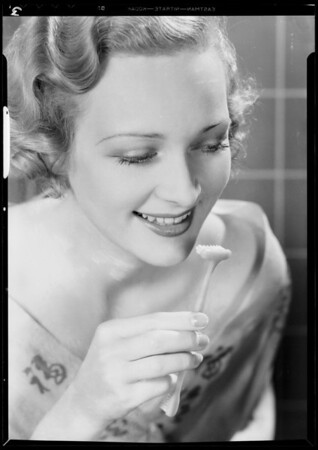 New model toothbrush & girl, Southern California, 1933