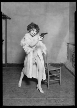 Nancy Carroll with gun, Music Box Theater, Southern California