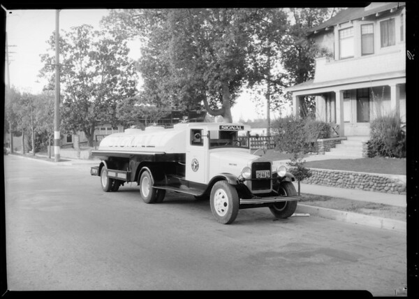 Streamline train & Signal Gasoline truck, Southern California, 1934