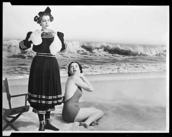 Old fashioned bathing suit scene, Southern California, 1936