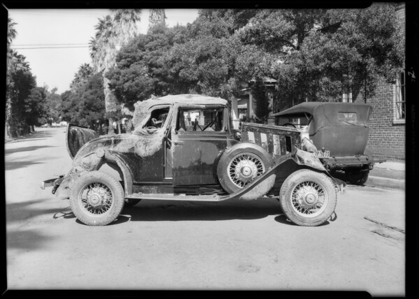 Wrecked Chevrolet coupe, Southern California, 1932