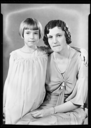 Portrait of Mrs. Beebe and daughter, Southern California, 1932