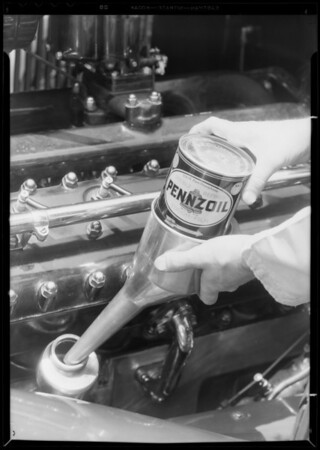 Filling Lincoln from quart can, Pennzoil, Southern California, 1933