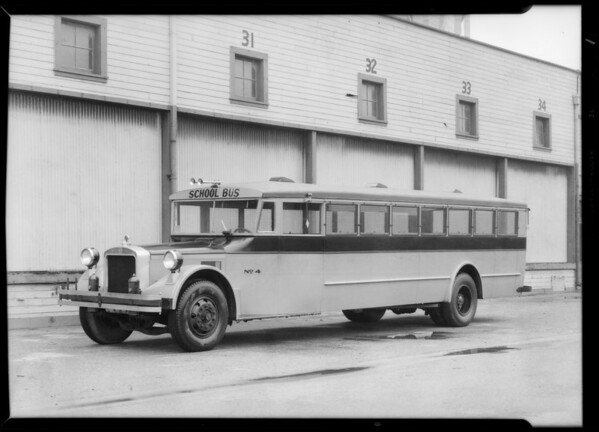 Exterior & interior of large school bus, Southern California, 1932