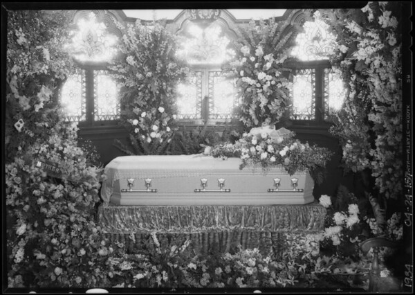 Casket and flower display, Southern California, 1934