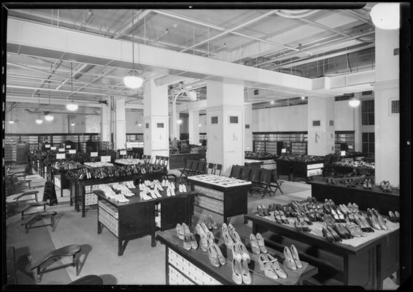 Department store shoe department, Los Angeles, CA, 1926