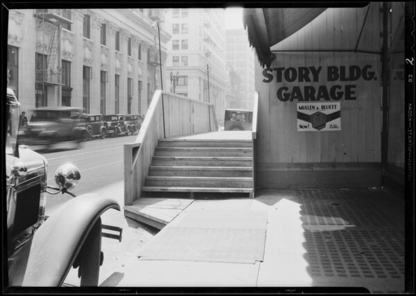 Temporary walk in front of Story Building, Los Angeles, CA, 1931