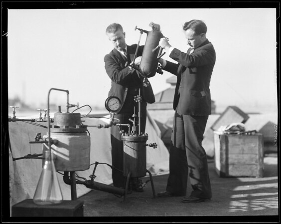 Drs. Bray, Gard, & Merrill at refinery, Southern California, 1934