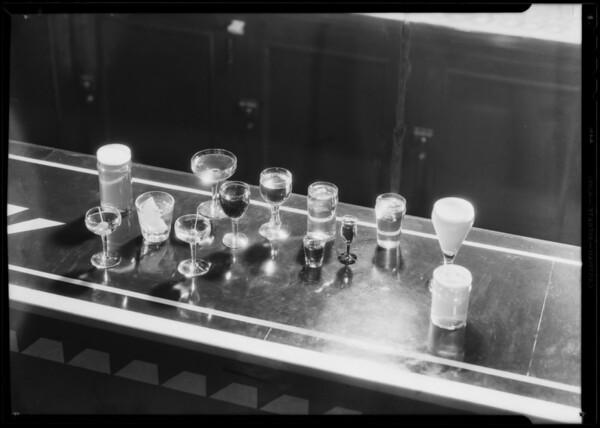 Bar and liquor glasses, Southern California, 1933